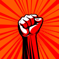 Raised hand with clenched fist. Vector illustration