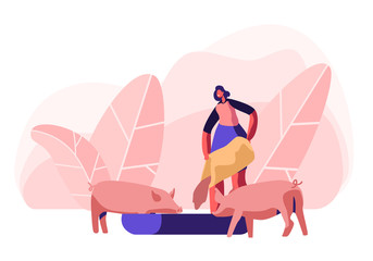 Young Woman Feeding Pigs Putting Grain in Trough. Female Farmer Character at Work Process Caring of Domestic Animals at Farm. Agriculture, Rancher Summer Time Activity Cartoon Flat Vector Illustration