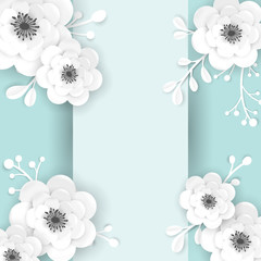 Paper Cut Flowers Frame Greeting Card Template. Decorative Design with 3D Origami Floral Elements for Spring Banner, Summer Sale Brochure, Poster. Wedding Trendy Background. Vector illustration