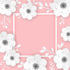 Paper Cut Flowers Frame Greeting Card Template. Decorative Design with 3D Origami Floral Elements for Spring Banner, Brochure, Poster. Wedding Trendy Background. Vector illustration