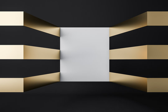 Empty futuristic black and gold room mock up wall