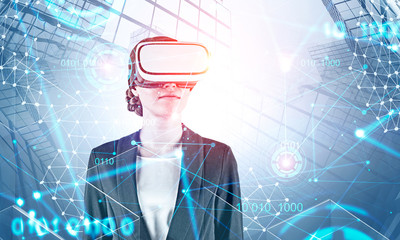 Woman in VR glasses and network HUD interface