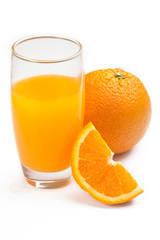 closeup of glass with orange juice, isolated on white background