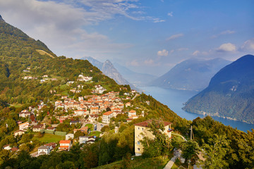 Scenic view to the lake Lugano from Monte Bre in Lugano, Switzerland