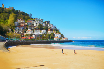 Scenic view of La Concha beach in San Sebastian, Spain