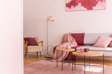 Lamp between armchair and sofa with pink and red blanket in flat interior with tables. Real photo