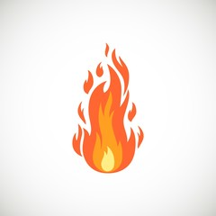 Vector icon of flame in cartoon flat style. Burning bonfire and campfire simple illustration isolated on white background for web, print, decoration, bonfire night.