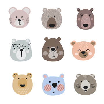 Set of cute cartoon bears. Vector little bear heads.