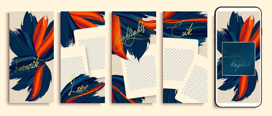 Trendy editable stories templates with blue and orange flowers, vector illustration. Design backgrounds for social media stories. instagram highlight covers. Insta fashion