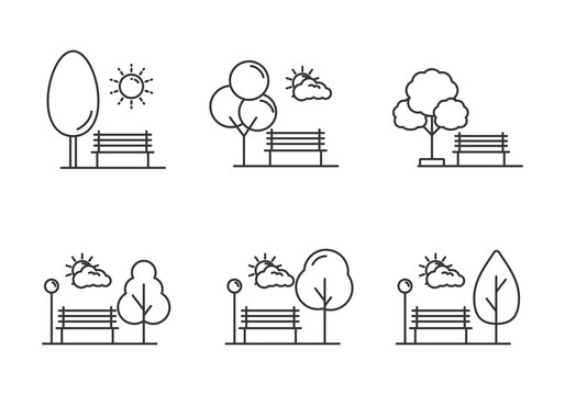 Set of park icon with outline design. Park vector illustration