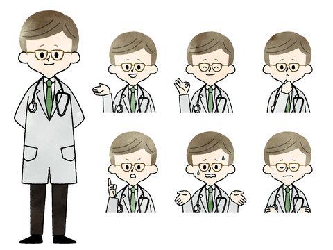 医者-男性-表情セット