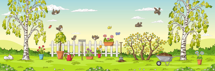 Wall Mural - Panorama spring landscape with birds, flowers, trees and gardening tools.