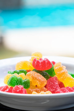 sweet and sour colorful gummy bears
