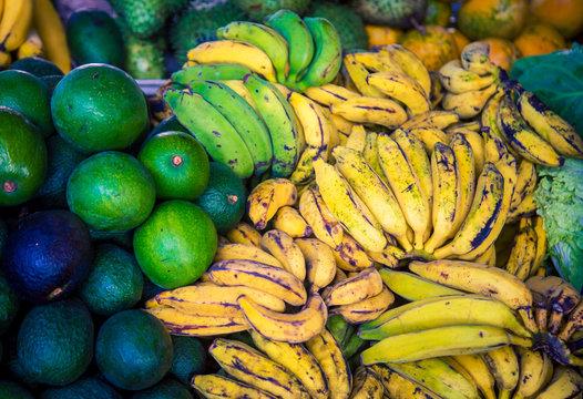Avocado and bananas market in Hilo Hawaii