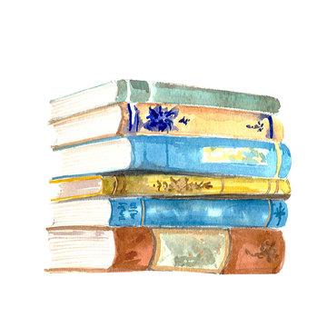 watercolor illustration of books