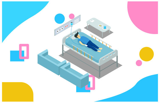Isometric illustration Clinic High-tech Medical Assistance Rapid Diagnosis Therapy Doctor Drug Medicine Infographics. 3D Isometric Doctor Flat Health Nurse regulates Visit of Vector Illustration