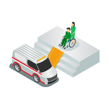 Emergency hospital entrance with ambulance and waiting room for isometric banner patients isolated vector illustration - Vector