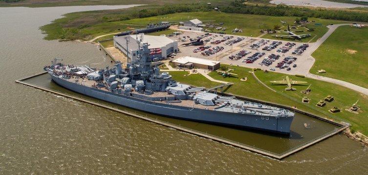 Aerial view of the USS Alabama Battleship