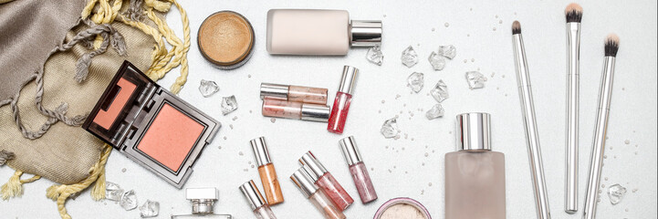 Brushes and color cosmetics, panorama, cover photo.