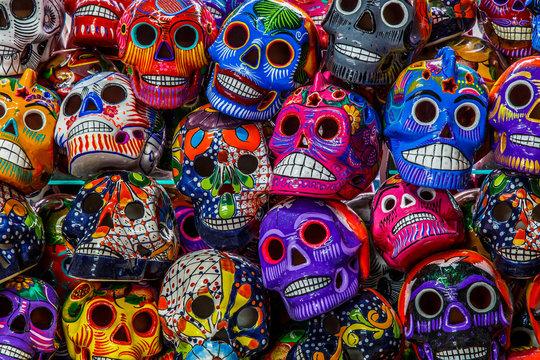 Mexican colorful skulls. Mexican / hispanic ceramic pottery Day of the Dead (Dia de los Muertos) skulls