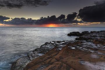 Sun Lights Up! Sunrise Seascape with Cloud Bank