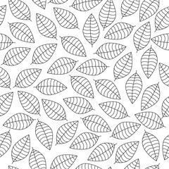 Vector seamless pattern with black leaves silhouettes on a white background'