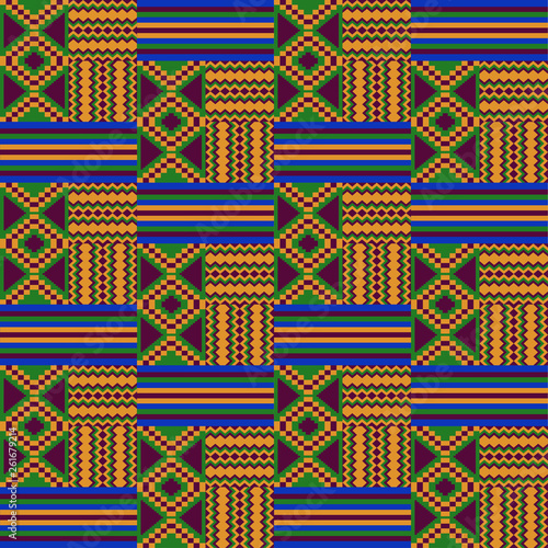 Kente cloth  African textile  Ethnic seamless pattern