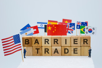 Trade barrier wording with USA China and multi countries flags. It is symbol of America first policy and tariff trade war.-Image.
