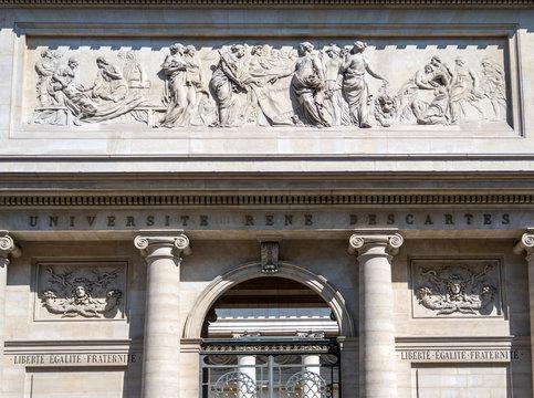 Rene Descartes medical university frontage in Quartier Latin.