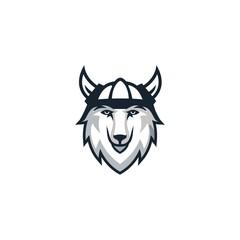 wolf viking logo design vector