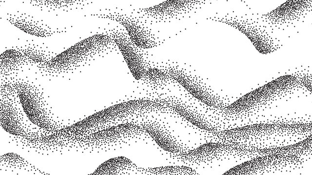 Pointillism, Abstract Waves, Curves Lines Vector Background. Wavy Monochrome Pointillism Backdrop. Stylized Hills, Sea Dotwork. Black Dots, Spots Halftone Drawing. Smooth Curls Realistic Illustration