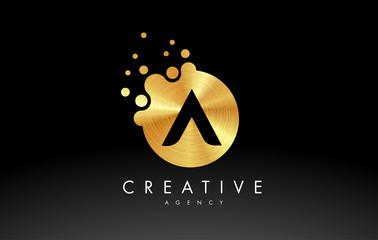 Gold Metal Letter A Logo. A Letter Design Vector