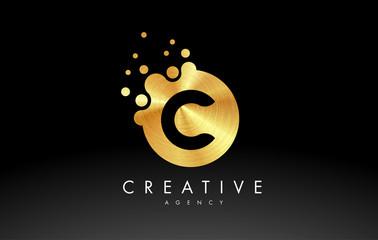 Gold Metal Letter C Logo. C Letter Design Vector