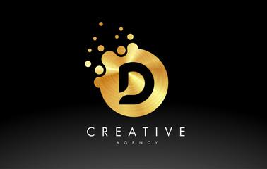 Gold Metal Letter D Logo. D Letter Design Vector