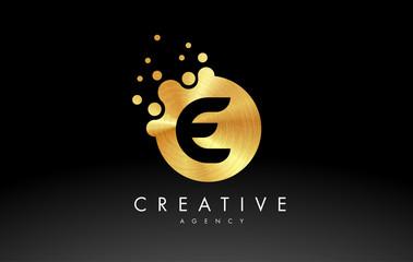 Gold Metal Letter E Logo. E Letter Design Vector