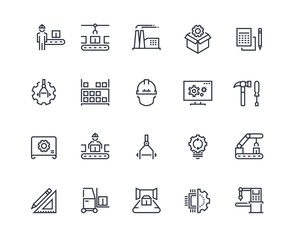 Production line icons. Industry machine production, factory conveyor line, automatic robot manipulator. Industrial vector pictograms template concept engineering set