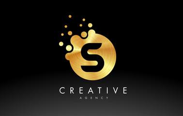 Golden Metal Letter S Logo. S Letter Design Vector
