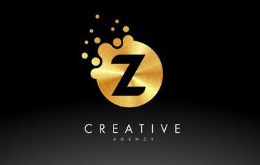 Golden Metal Letter Z Logo.Z Letter Design Vector