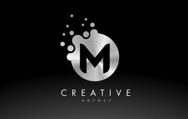 Silver Metal Letter M Logo. M Letter Design Vector