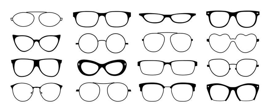 Glasses frames silhouette. Hipster geek sun glasses, optometrist black plastic rims, old fashion style. Vector isolated glasses set looking shape frames ocular