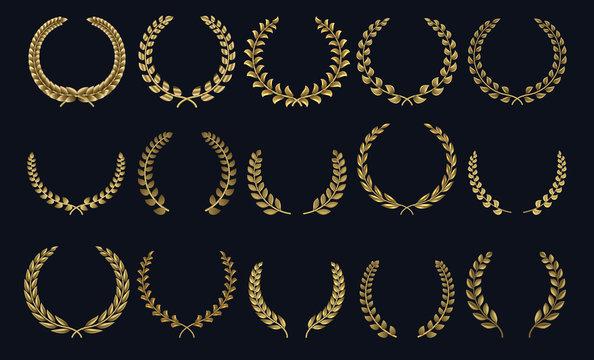 Golden laurel wreath. Realistic crown, leaf shapes winner prize, foliate crest 3D emblems. Vector greek roman laurel silhouettes and olive wreaths honor achievements