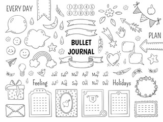 Obraz Notebook doodle bullet. Hand drawn diary frame, journal linear list borders and elements. Vector sketch doodle elements planner notes design scribbles - fototapety do salonu