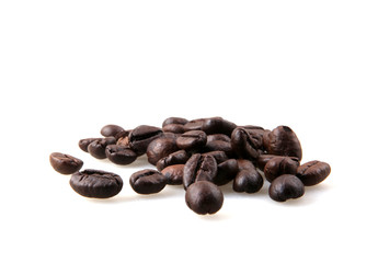 Wall Mural - Coffee Beans Against White Background