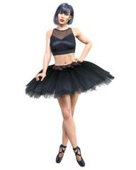 Dancing ballerina 3D. Black ballet tutu. Dark hair girl blue eyes. Ballet street dancer. Studio photography. High key. Conceptual fashion art. Render realistic illustration. White background.
