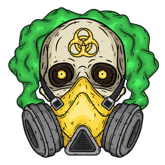 Skull. Skull with gas mask. Skull with respirator.