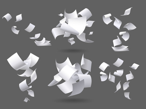Falling paper sheets. Flying papers pages, white sheet documents and blank document page on wind isolated vector illustration set