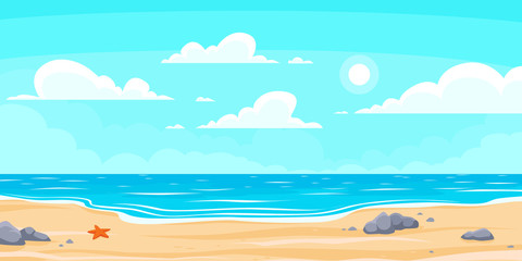 Poster Lichtblauw Cartoon summer beach. Paradise nature vacation, ocean or sea seashore. Seaside landscape vector background illustration