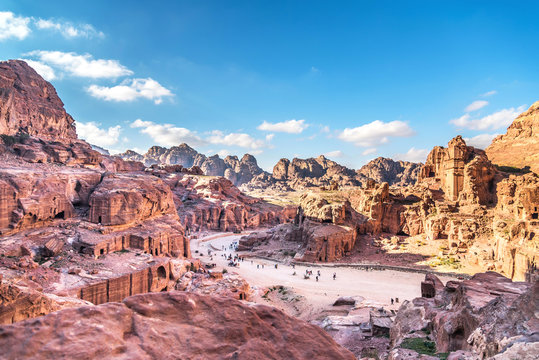Aerial view from the way to High Sacrifice over Petra, one of the new Seven Wonders of the world Jordan