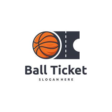 Basketball Ticket logo designs concept vector