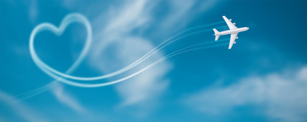 Flight route of the aircraft in the shape of a heart. Smoky line trace of airliner. Realistic icon of airplane in blue sky with clouds. Vector 3d illustration